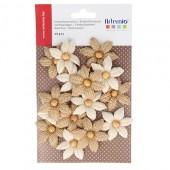 Fleurs en jute avec perles, 45mm, 15 pcs