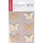 Papillons en jute, 42mm, 6 pcs