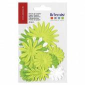Flores de papel, verde, 24 pz