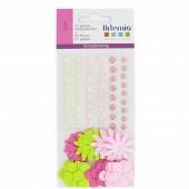 Demi-perles nacrées et fleurs en papier rose-vert