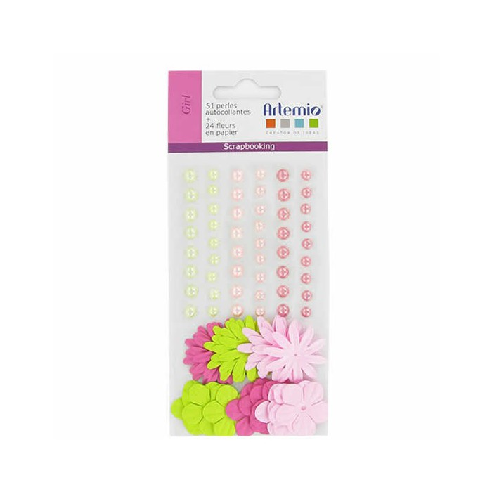 Adhesive half pearls and paper flowers, pink-green