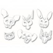 Masques en papier cartonné assortis pour enfants, 6 pcs