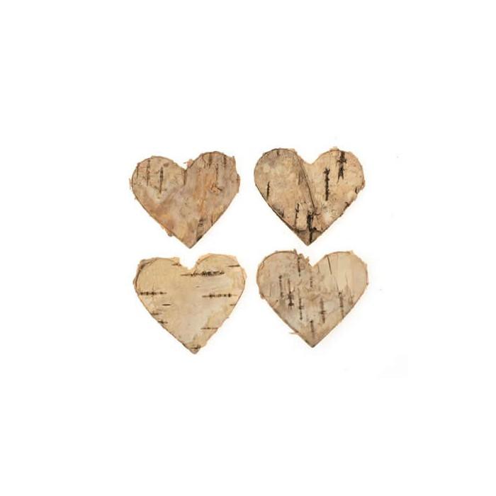 Coeurs en écorce, 4cm, 18 pcs