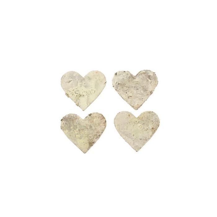 Coeurs en écorce, blanc, 4cm, 18 pcs
