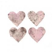 Coeurs en écorce, rosé, 4cm, 18 pcs