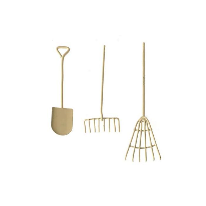 Metallic tools, white, 3 pcs