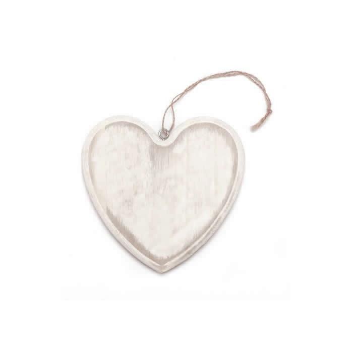 Coeur en bois 15x14x1.5cm blanc