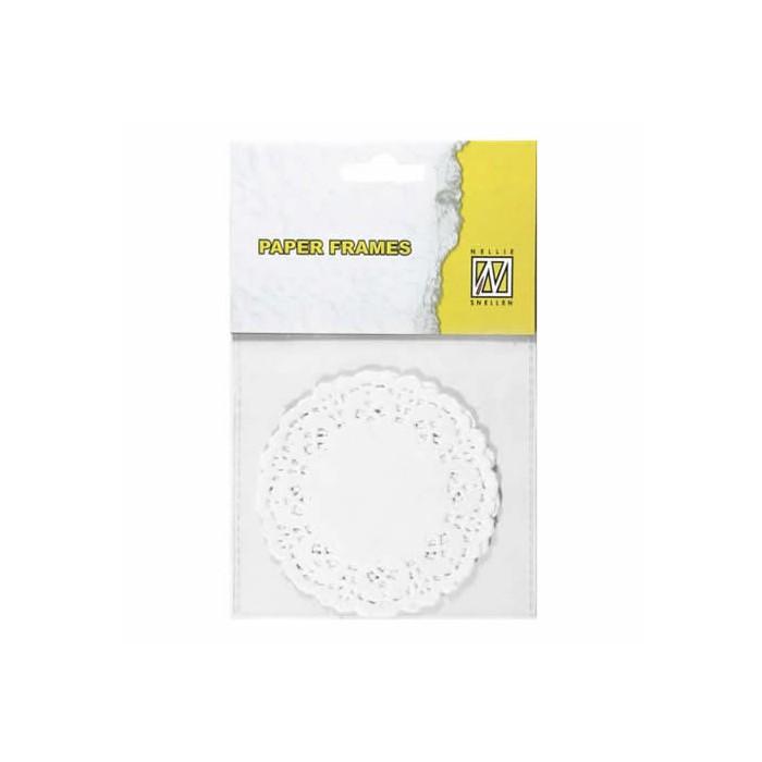 Lace paper, Ø8.9cm, white, 12 pcs