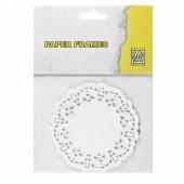 Lace paper, Ø10cm, white, 12 pcs