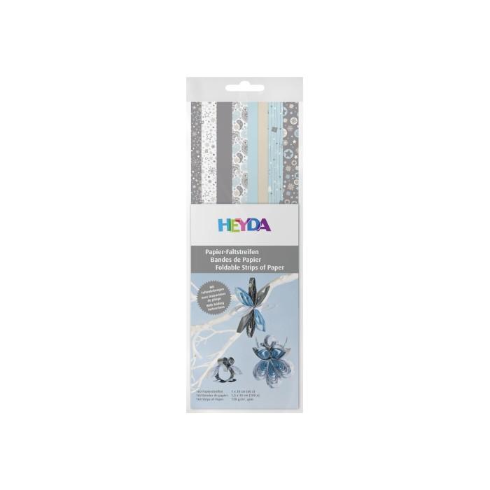 Bandes de papier pour Quilling - mix motifs argent/bleu