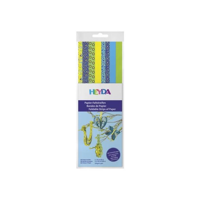 Bandes de papier pour Quilling - mix motifs bleu/jaune
