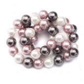 Perles rondes nacrées gris/blanc/rose, 8mm, +/-48pcs