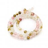 Perles rondes quartz rose/beige, 6mm, +/-60pcs