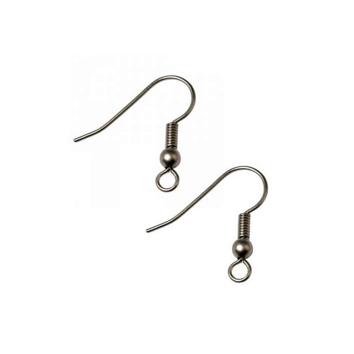 Crochets pour boucles d'oreilles, couleur argent mat, 4 pces