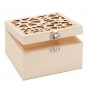 Boîte en bois avec découpe steampunk 14.8x14.8x9cm
