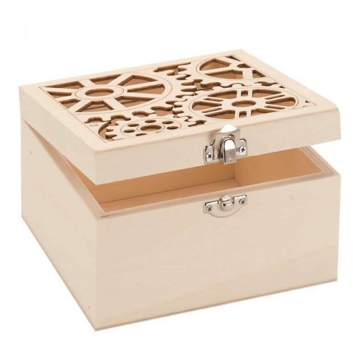 Wooden box  steampunk 14.8x14.8x9cm