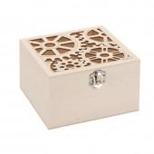 Boîte en bois avec découpe steampunk 10.8x10.8x8cm
