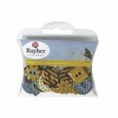 Assortiment boutons epoxy, Butterlfy, 30 pces