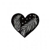 Motiv aufbügelbar, Herz schwarz/silber
