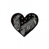 Motivo à planchar corazon negro/plata