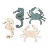 Cangrejos y caballos de mar de madera, 12 pz