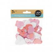 Coeurs en mousse pailletés, rose/blanc, 120 pcs