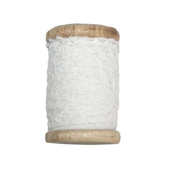 Dentelle sur bobine bois, 2cm/3m, blanc