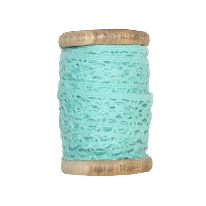 Dentelle sur bobine bois, 2cm/3m, turquoise