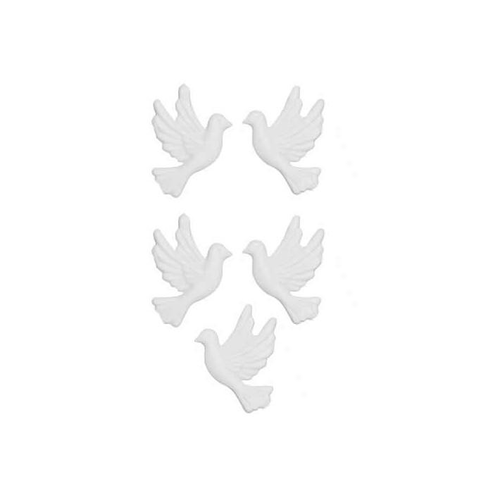 Décoration en cire, colombe, 5 pièces