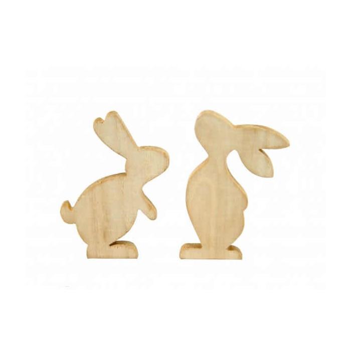 Lapins en bois 12cm, 2 pcs