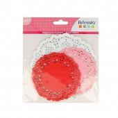 Papier découpe dentelle, blanc, rose, rouge