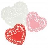 Papel encaje corazon, blanco, rosa, rojo
