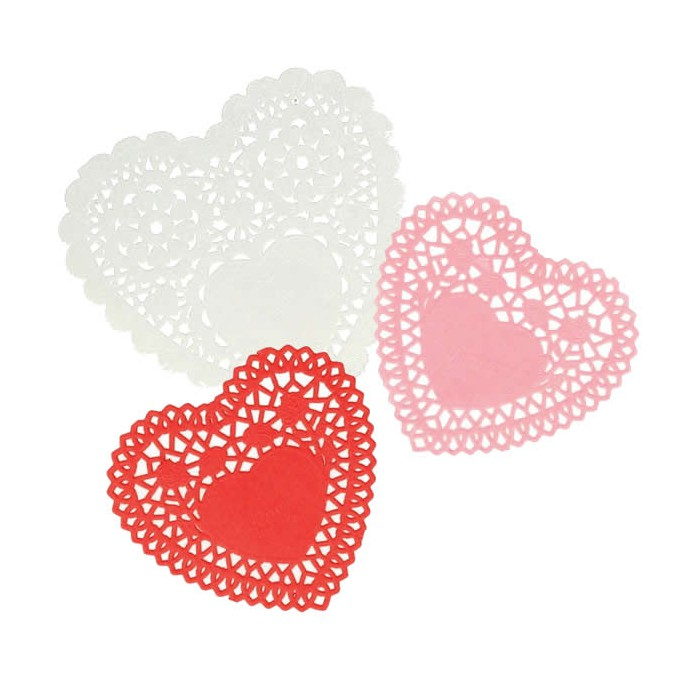 Lace paper heart, white/red/rose