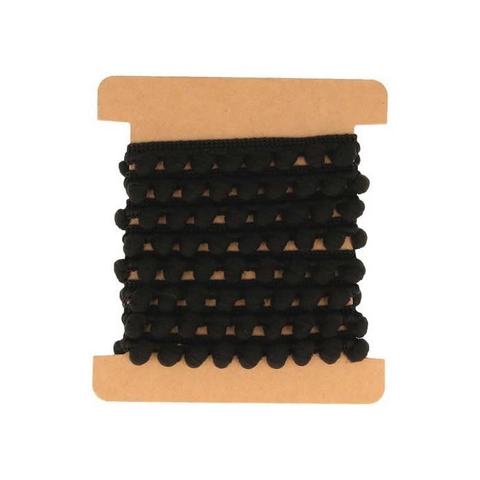 Ruban pompons noir, 1m
