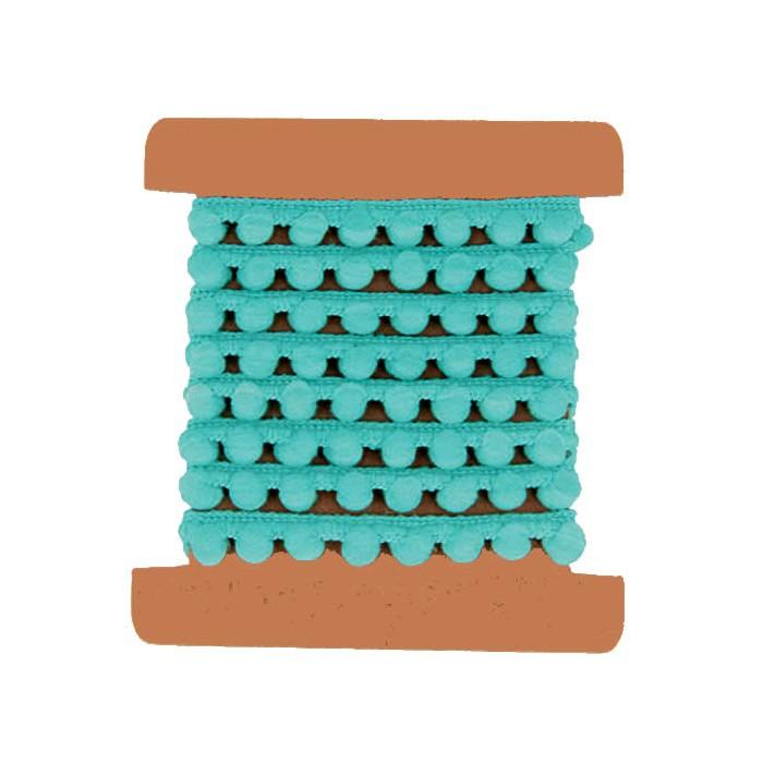 Ruban pompons turquoise, 1m