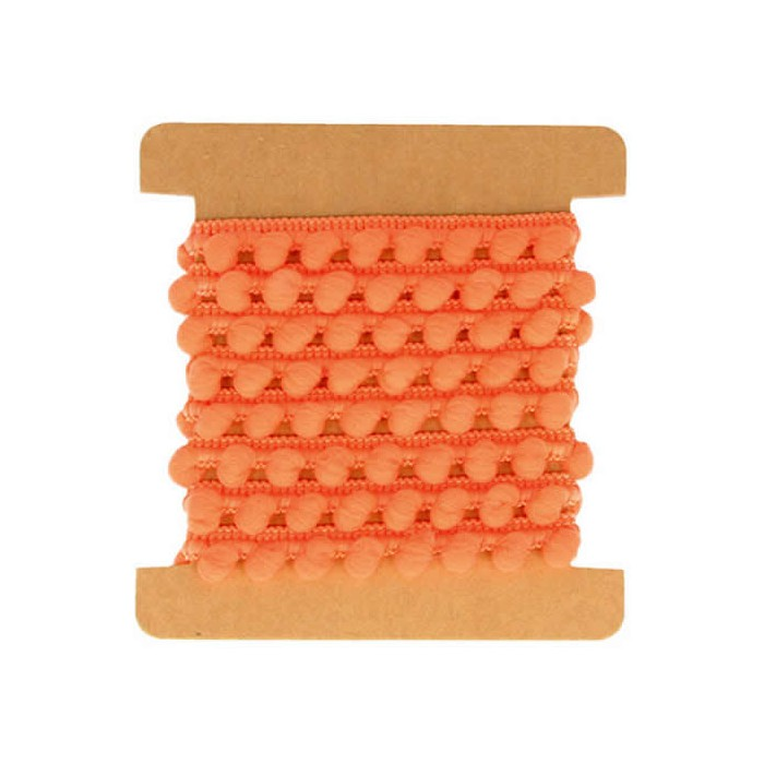 Ruban pompons orange, 1m