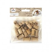 Wooden spools, light brown, assorted, 24 pcs