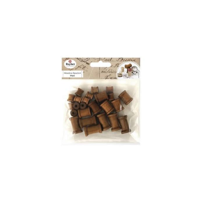 Bobines en bois foncé, assortiment, 24 pcs