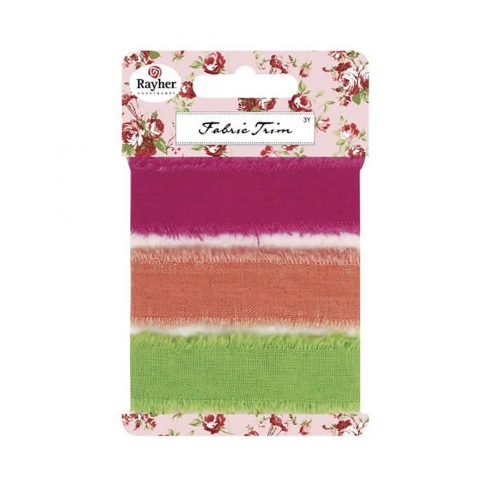 Rubans lin pink/abricot/vert