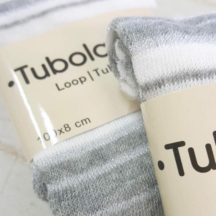 Tube en coton extensible, 100x8cm, rayé gris/blanc/argent