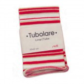Cotton stretch tube 100x8cm, red/white/gold stripes