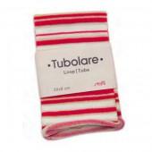 Tube en coton extensible, 100x8cm, rayé rouge/blanc/or