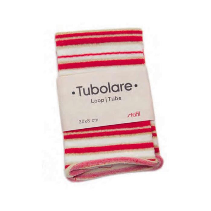 Cotton stretch tube 100x8cm, red/white/gold stripes