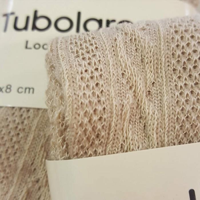Tube en coton extensible, aspect tricot, 100x8cm, beige