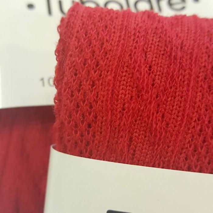 Tube en coton extensible, aspect tricot, 100x8cm, rouge