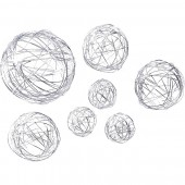 Wire ball mix 3/5/8cm silver, 10pcs