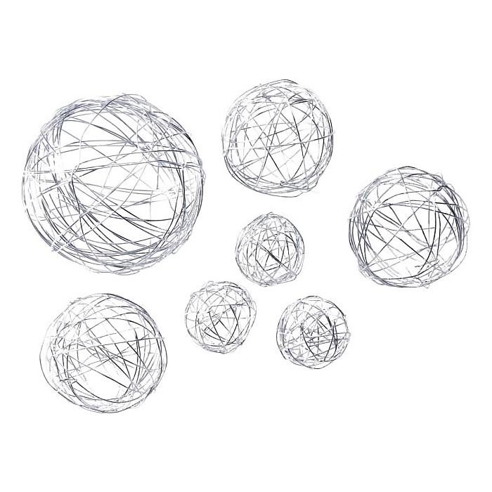 Boules en métal, mix 3/5/8cm, argent, 10 pcs