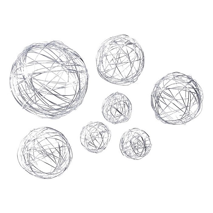 Wire ball mix 3/5/8cm silver, 10pcs
