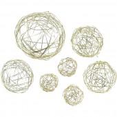 Bolas de hilo de metal, 3/5/8cm, oro, 10 pz