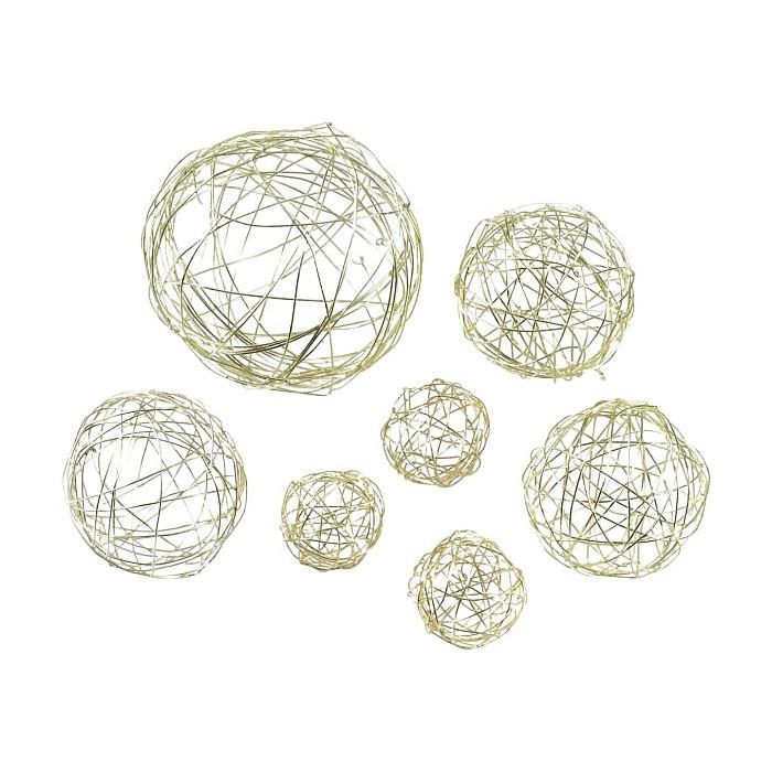 Boules en métal, mix 3/5/8cm, or, 10 pcs